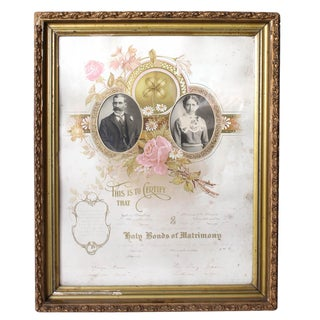 1900's Marriage Certificate For Sale