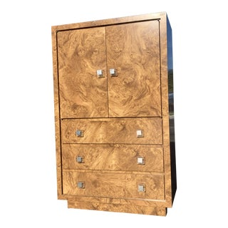 1970s Milo Baughman Style Burl Wood Armoire For Sale