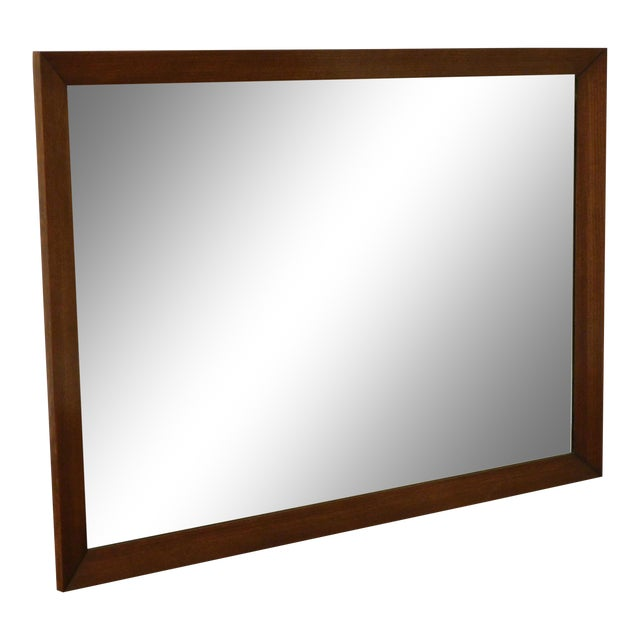 Mid Century Vintage Walnut Frame Beveled Wall Mirror For Sale