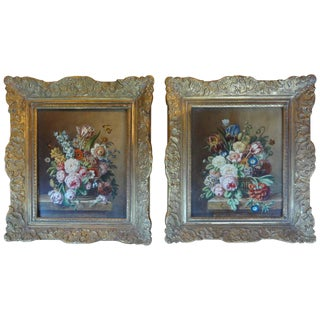 Antique French Framed Floral Paintings - A Pair