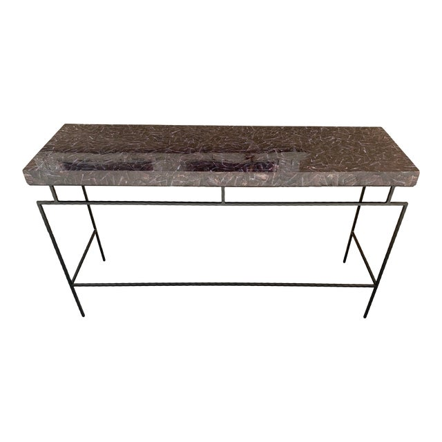 Contemporary Penshell and Iron Console Table For Sale