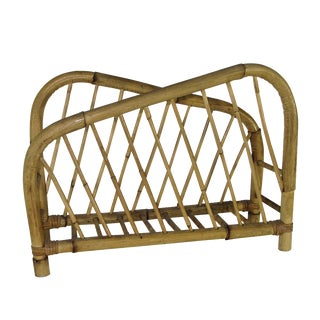 1960's Bamboo Magazine Rack For Sale