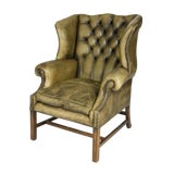 Image of Late 19th Century Mahogany and Original Tufted Green Leather Wing Chair For Sale