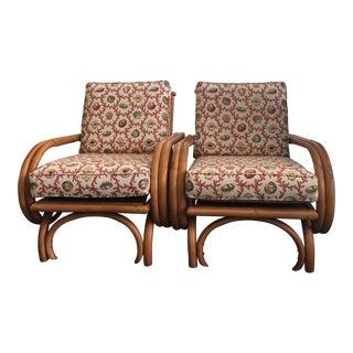 Vintage Regency Rattan Lounge Chairs - a Pair