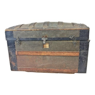 Vintage Industrial Victorian Dome Top Trunk For Sale