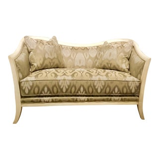 Transitional Thomasville Taupe and Silver Giselle Settee For Sale
