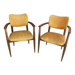 1960s Mid-Century Modern Mustard Upholstered Bianco Side Chairs - a Pair