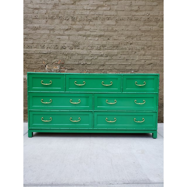 1970s Regency Bamboo Green Lacquer Dresser For Sale - Image 9 of 13
