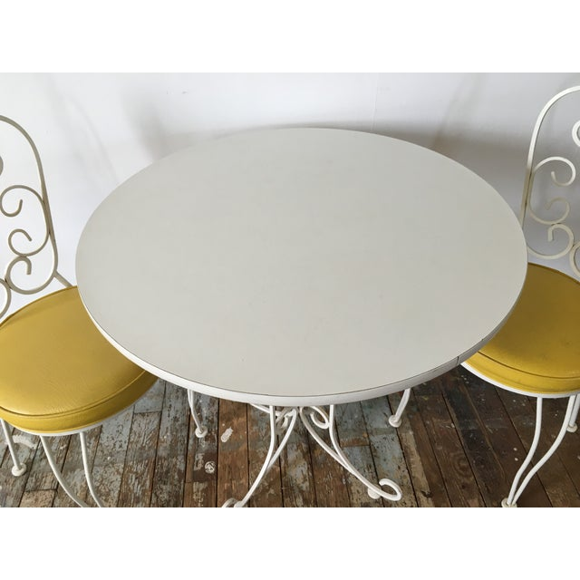 Vintage Wrought Iron Bistro Dining Set For Sale - Image 5 of 7