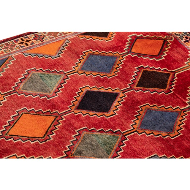 Red Mid 20th Century Vintage Rug For Sale - Image 8 of 9