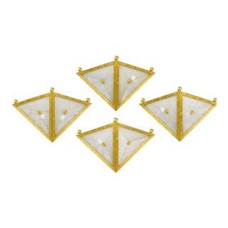 Gilt Bronze Triangular Sconces - Set of 4 For Sale