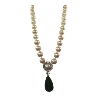 Vintage Chanel Pearl and Crystal Necklace With Green Gripoix Glass Drop For Sale