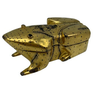 1970s Black and Gold Lacquered Frog Box For Sale