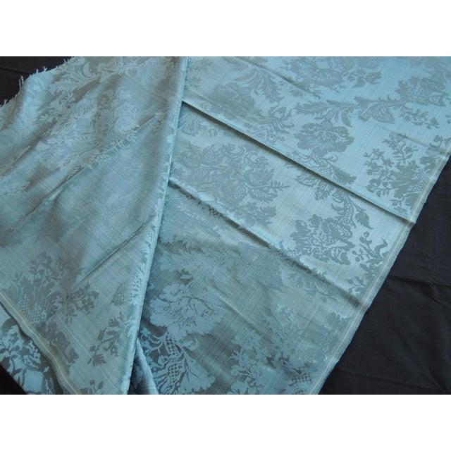 Antique Blue Floral Silk Damask Textile Panel For Sale - Image 4 of 6