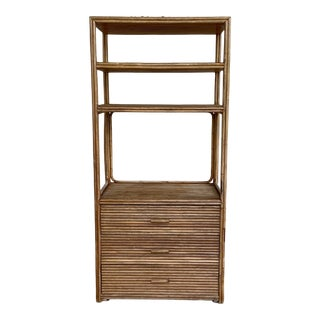 1960s Boho Chic Rattan Etagere For Sale