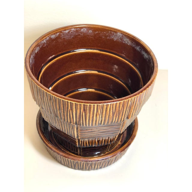 "McCoy Pottery 1940s - 1960s ""Brown"" Mid Century Flower Pot and attached Saucer Bark Basket Weave Design, Large, Brown..."