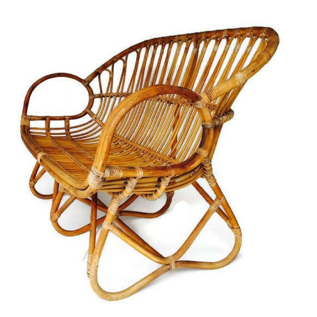 Vintage Sculptural Bamboo Settee Franco Albini Style Love Seat For Sale - Image 4 of 7