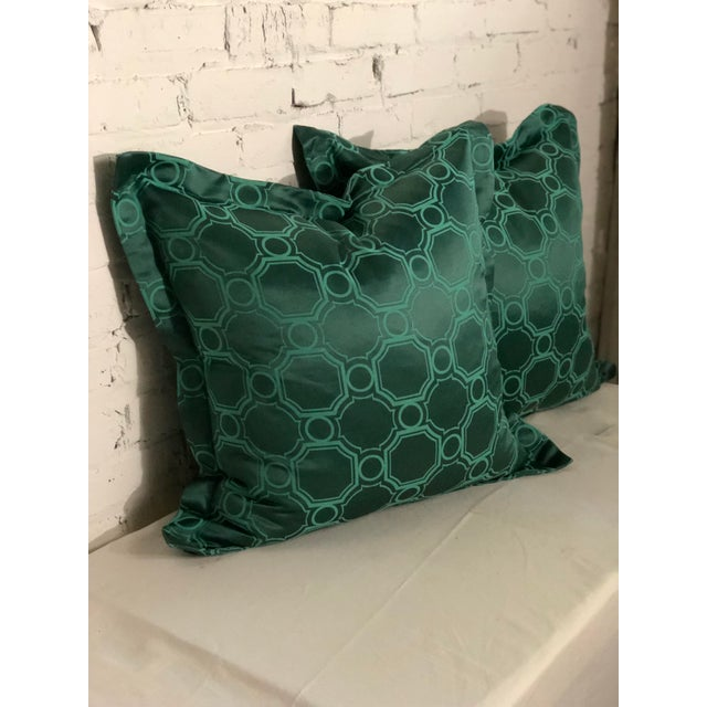 """Art Deco 24"""" Square Pair of Jim Thompson Emerald Green Pillows in Asia Major For Sale - Image 3 of 9"""