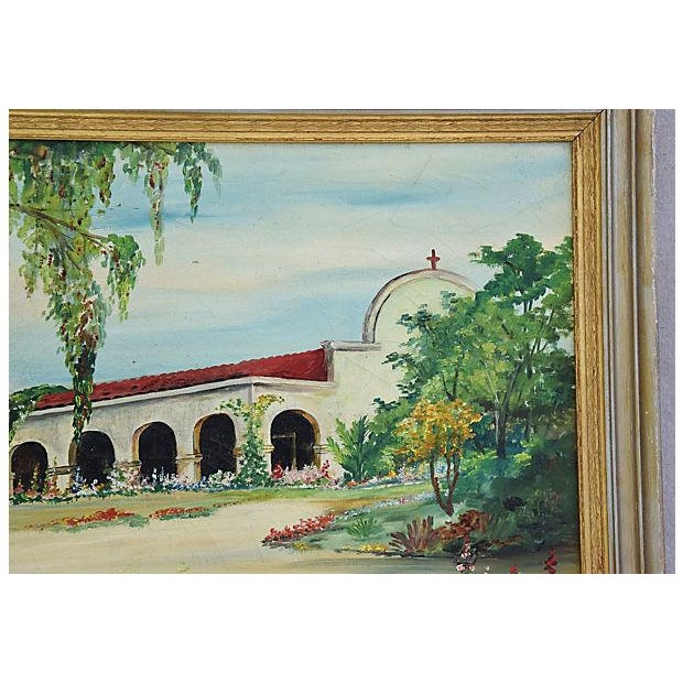 Paint Mid-Century Framed San Juan Capistrano Mission Oil Painting by Georgiana Hehr For Sale - Image 7 of 10