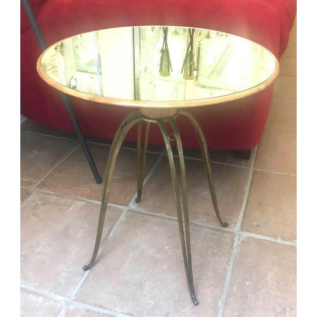 Rene Prou Rare Refined Pair of Side Table in Sycamore and Gold Leaf Wrought Iron For Sale - Image 6 of 9