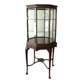 Vintage Octagonal Shaped China/ Display Cabinet For Sale