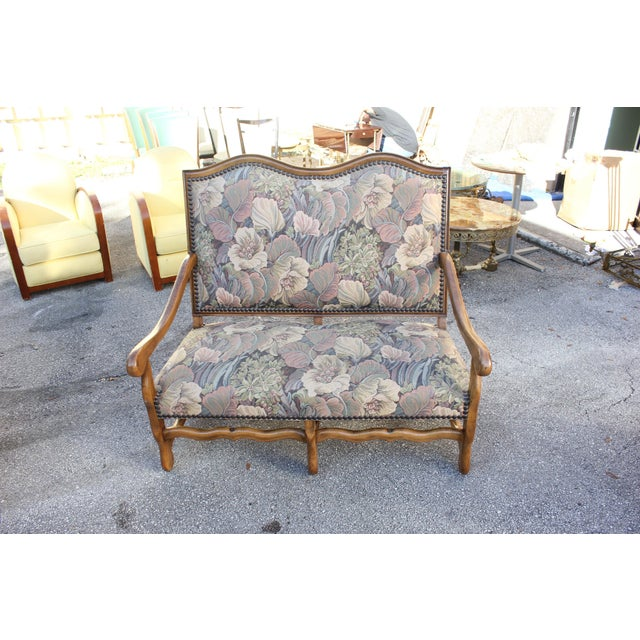 French Country 1900s Louis XIII Style Os De Mouton Walnut Settee and Armchairs - Set of 3 For Sale - Image 3 of 11