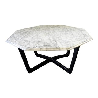 1960s MCM White Marble Coffee Table For Sale