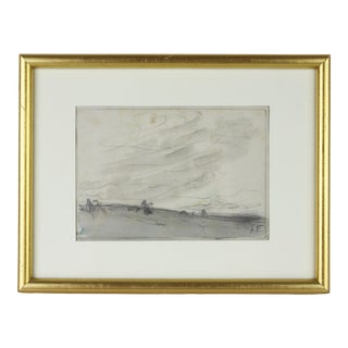 1930s French Landscape Watercolor & Pencil Signed by Henri Foreau, Framed For Sale