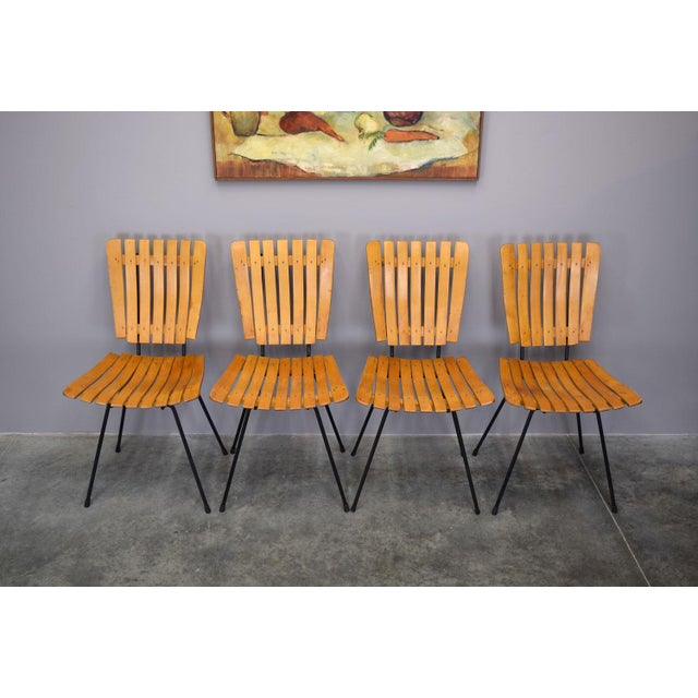 Iron Arthur Umanoff Raymor Mid-Century Slat Chairs, Set/4 For Sale - Image 7 of 9