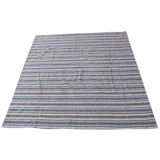 Vintage Mid-Century Striped Persian Kilim Rug - 8′6″ × 9′9″ For Sale