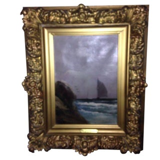 Antique Painting - Sailboat Ship in Gilt Frame For Sale