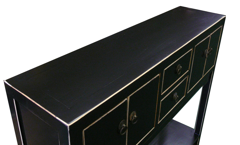 Chinese Black Lacquer Elm Wood Console Table   Image 5 Of 6