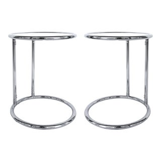 Mid-Century Eileen Gray Style Chrome Side Tables-A Pair For Sale