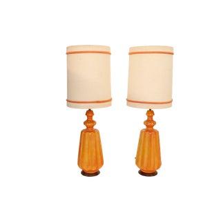 Mid-Century Orange Ceramic Table Lamp, Mid-Century Moderns 1960s Circa - a Pair For Sale