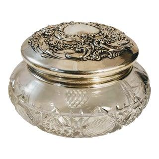 Vintage Gorham Sterling Silver Glass Powder Puff Jar For Sale