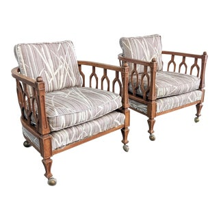 1980s Vintage Hollywood Regency Dorothy Draper Style Lounge Chairs- A Pair For Sale