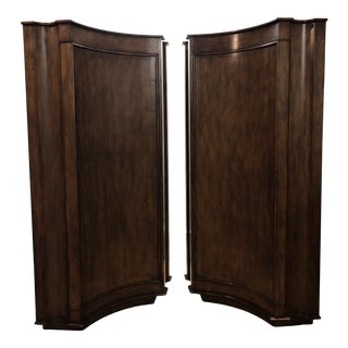 Elegant Custom Corner Cabinets, a Pair For Sale
