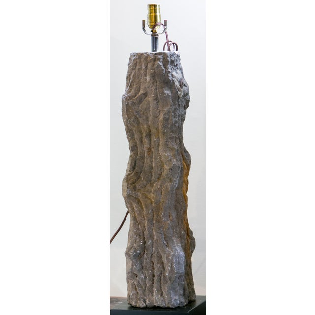 Carved Limestone Faux Bois Table Lamp For Sale In Houston - Image 6 of 9