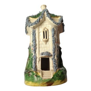 Antique Mid 19th Century English Staffordshire Pastille Burner in the Shape of a Castle For Sale