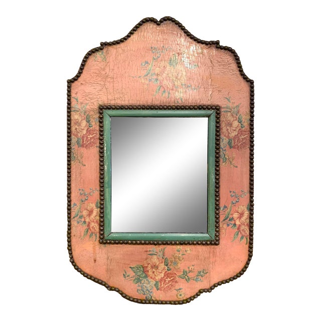 Early 20th Century French Napoleon III Hand Painted Wall Mirror For Sale