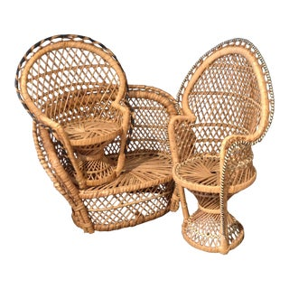 Vintage Miniature Wicker Furniture - Set of 3