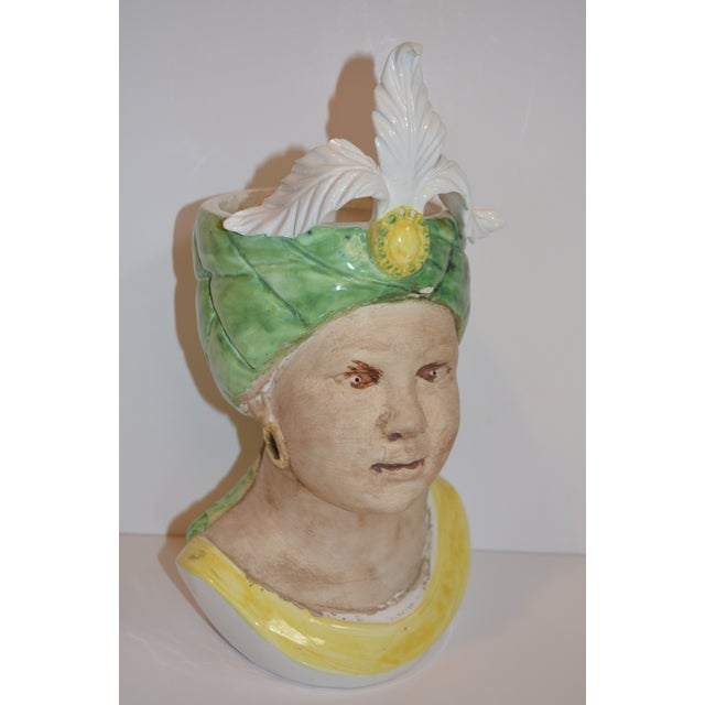 This is a very whimsical mid century Italian majolica Goddess bust vase. The colors are in a buttery yellow and bright...