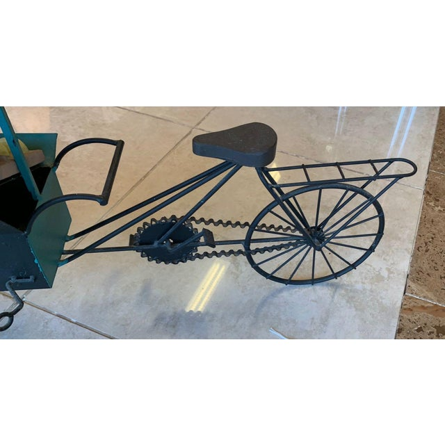 Black Curtis Jere Fruit and Vegetable Cart Metal Sculpture For Sale - Image 8 of 9