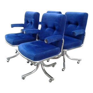 Vintage Hollywood Regency Chrome Swivel Arm Chairs 4 Available