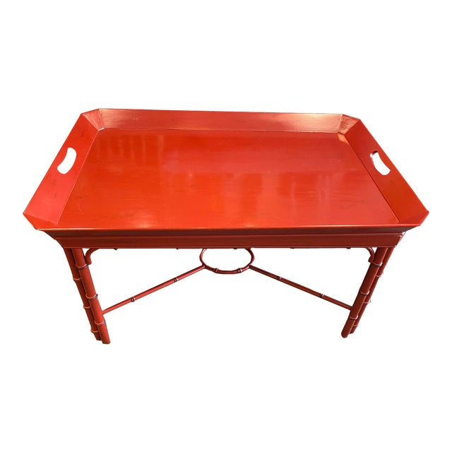 Baker Furniture Asian Style Red Tray Table For Sale