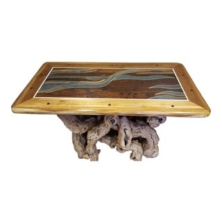 Teak & Brazilian Walnut Table With Grapevine Base For Sale