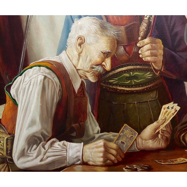 Otto Eichener -The Card Players -Oil Painting For Sale - Image 4 of 11