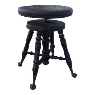 Early 19th Century Original Paint Decorated Dutchy Heart Piano Stool For Sale