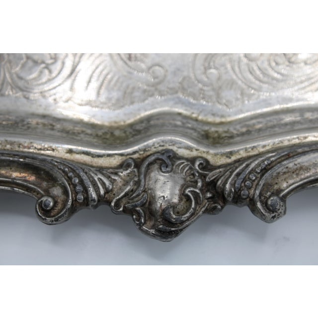 Metal Large 19th Century Silver Plate Footed Serving Tray With Handles For Sale - Image 7 of 9