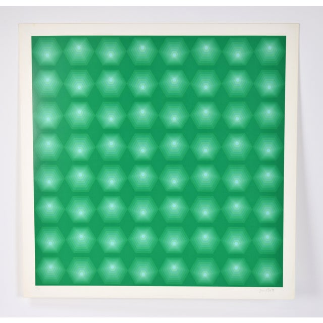 "Lithograph 1972 Vintage Jim Bird ""Tribute to Vasarely"" Lithograph Print For Sale - Image 7 of 7"